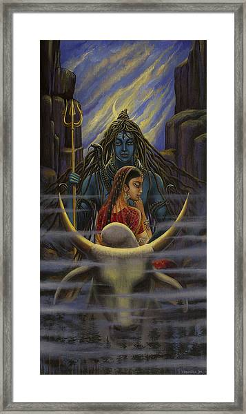 Shiva Parvati. Night In Himalayas Framed Print