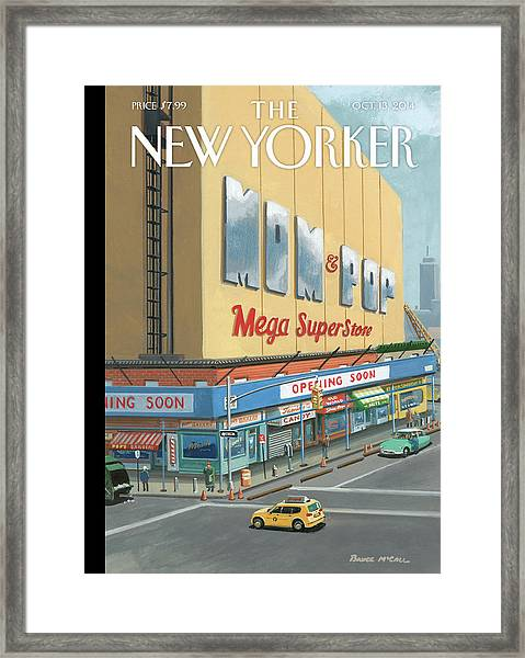Mom And Pop Mega Superstore Framed Print by Bruce McCall