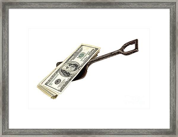 Shovel Of Dollar Framed Print