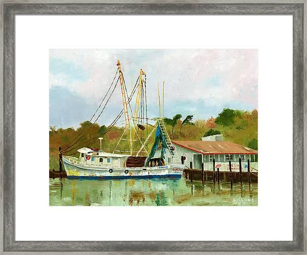 Shrimp Boat At Dock Framed Print
