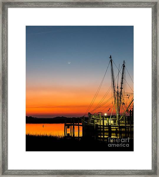 Shrimp Boat At Dusk Folly Beach Framed Print