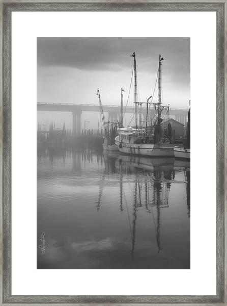 Shrimp Boats In The Fog - Black And White Framed Print