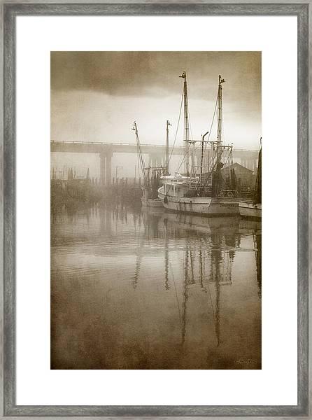 Shrimp Boats In The Fog Framed Print