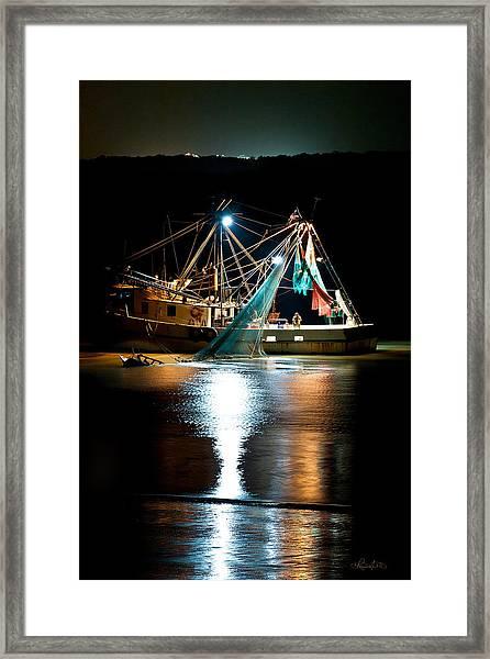 Shrimping Tybee Style Framed Print