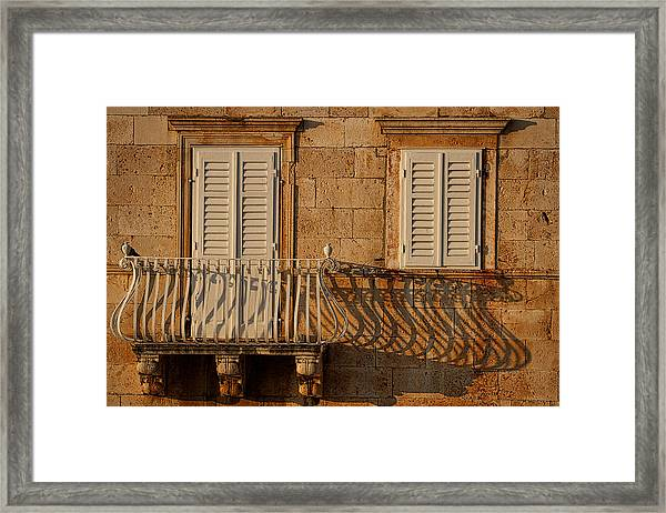 Shutters And Shadows - Hvar Croatia Framed Print