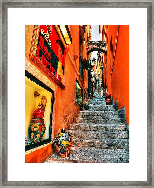 Framed Print featuring the photograph Sicilian Steps by Mel Steinhauer
