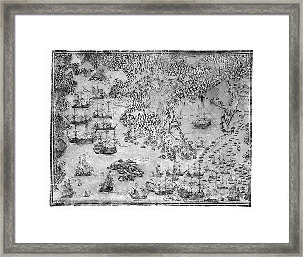 Siege Of Louisbourg, 1758 Framed Print