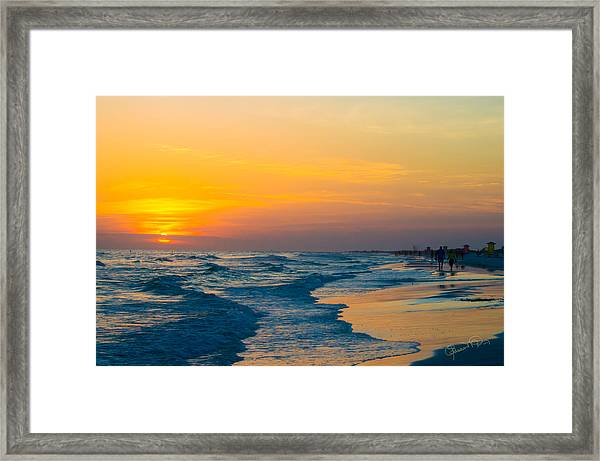 Siesta Key Sunset Walk Framed Print