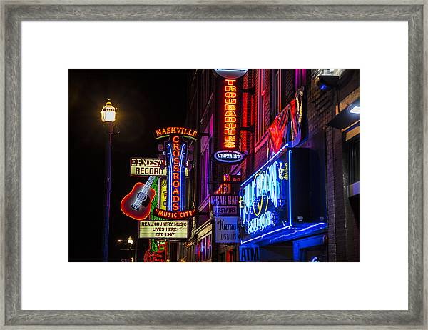 Signs Of Music Row Nashville Framed Print