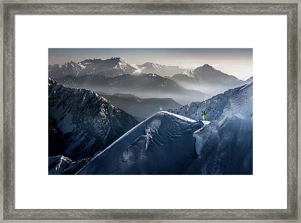 Silent Moments Before Descent Framed Print by Sandi Bertoncelj
