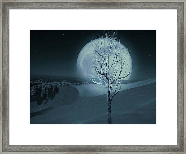 Framed Print featuring the digital art Silent Winter Evening  by David Dehner