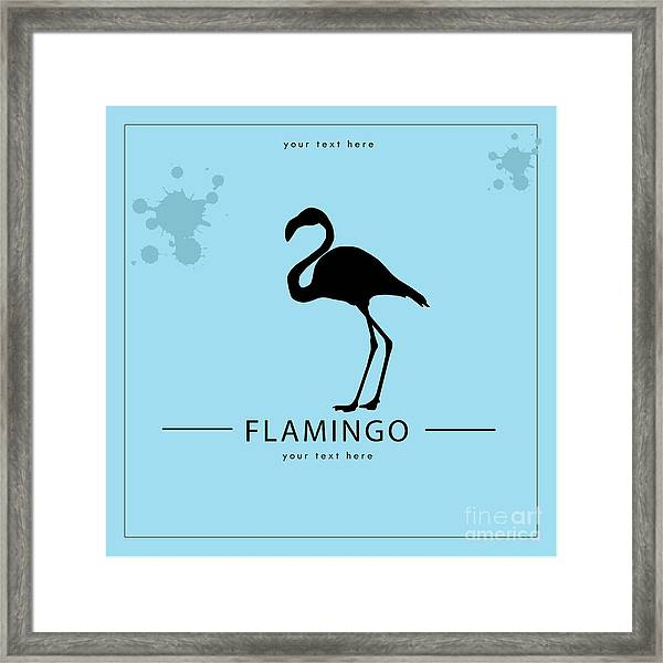 Silhouette Flamingo In The Retro Style Framed Print