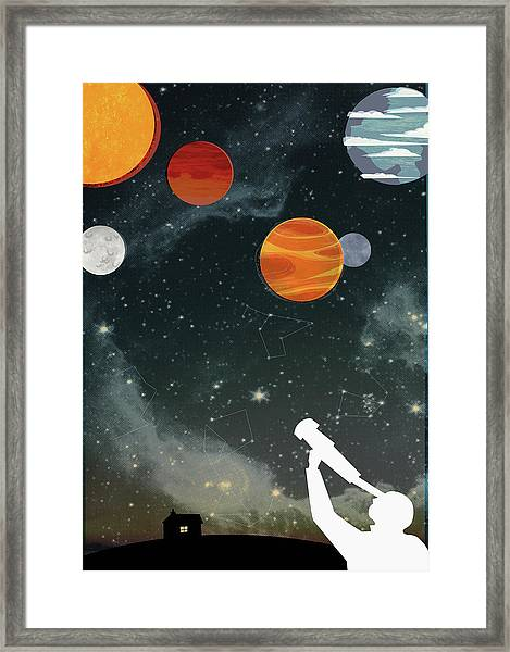 Silhouette Of Man With Telescope Framed Print