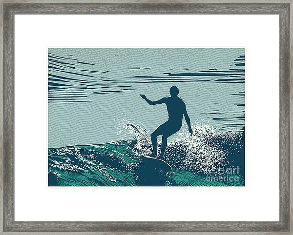 Silhouette Surfer And Big Wave Framed Print