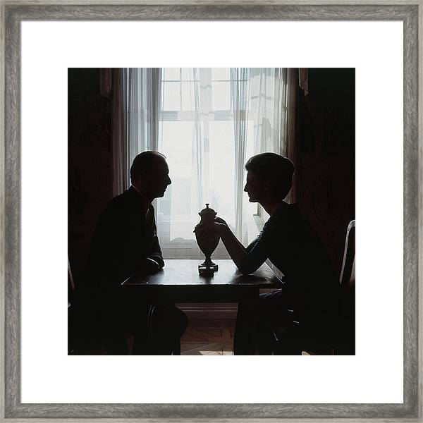 Silhouettes Of Prince And Princess Moritz Framed Print