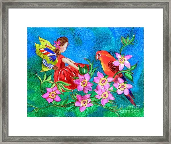 Silk Fairy And Parrot Framed Print