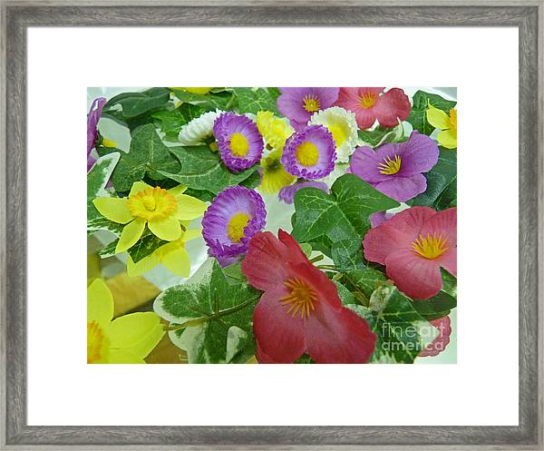 Silk Flowers For Springtime Framed Print