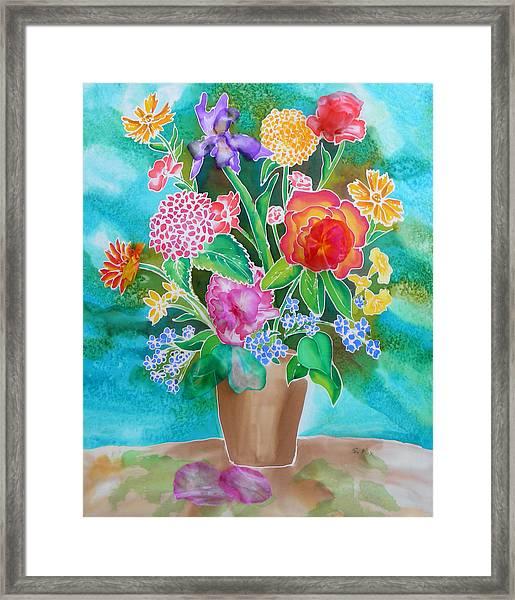 Silk Teal Bouquet Framed Print