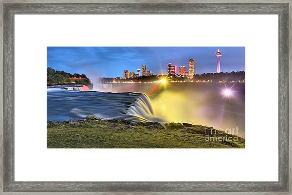 Silky Niagara Falls Panoramic Sunset Framed Print
