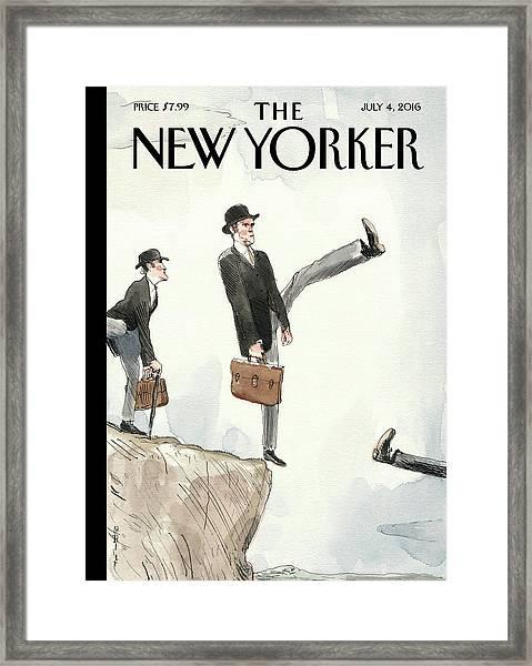 Silly Walk Off A Cliff Framed Print by Barry Blitt