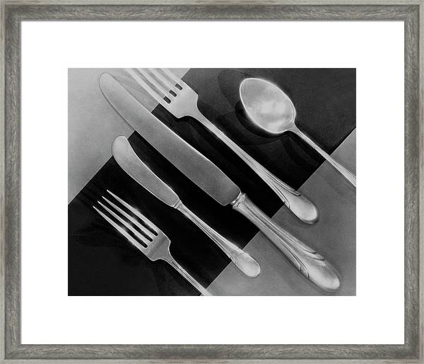 Silver Cutlery By Symphony By Towle Framed Print