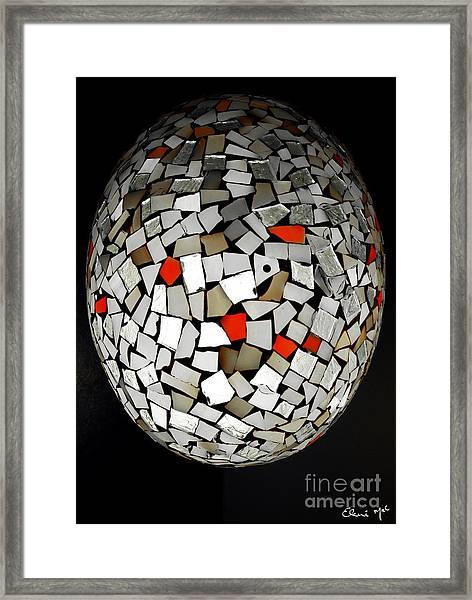 Framed Print featuring the digital art Silver Egg by Eleni Mac Synodinos