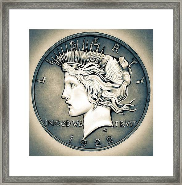 1922 Silver Proof Peace Dollar Framed Print