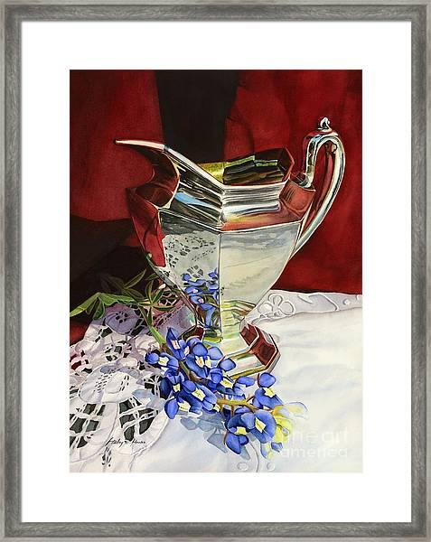 Silver Pitcher And Bluebonnet Framed Print