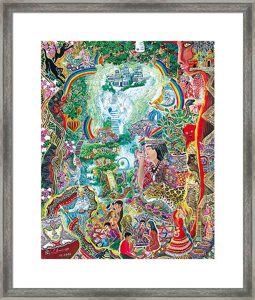 Framed Print featuring the painting Sinchi Puca Lupuna by Pablo Amaringo