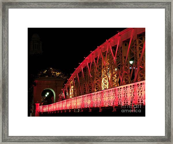 Singapore Anderson Bridge At Night Framed Print