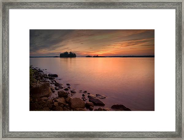 Sioux Narrows Sunset Framed Print