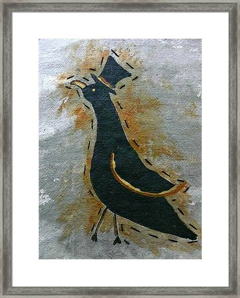 Sir Crow Tophat Framed Print by Laura Heilman