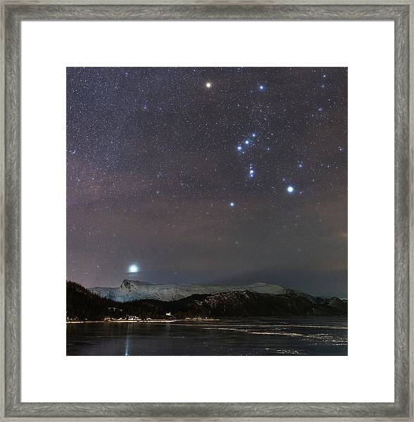 Sirius Rising With Orion Framed Print by Tommy Eliassen
