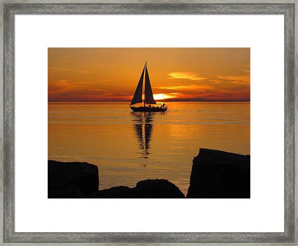 Sister Bay Sunset Sail 2 Framed Print