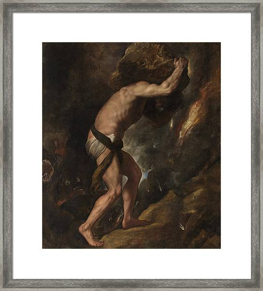 Framed Print featuring the painting Sisyphus by Titian