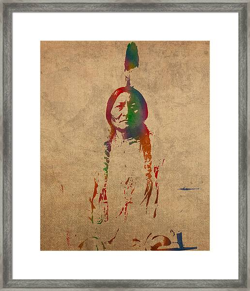 Sitting Bull Watercolor Portrait On Worn Distressed Canvas Framed Print
