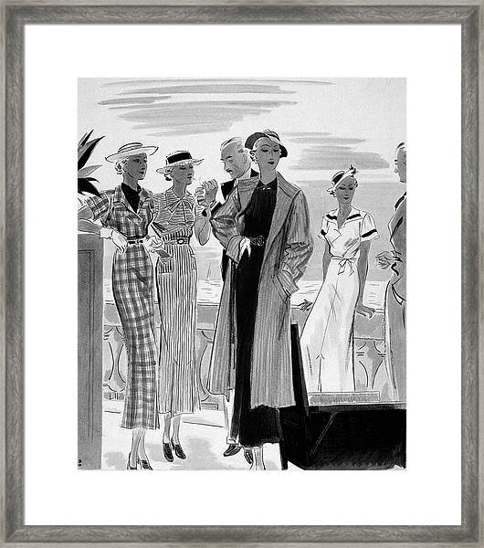 Six People Posing On A Terrace Framed Print by William Bolin
