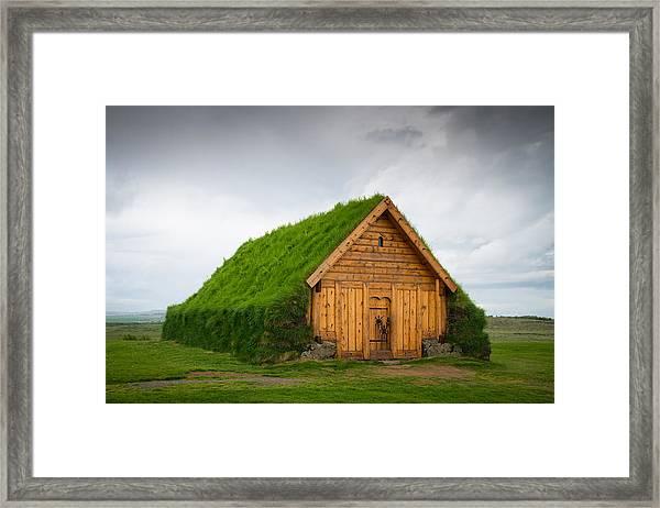 Skalholt Iceland Grass Roof Framed Print