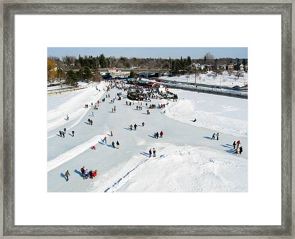 Skating On Dow's Lake At Bronson Bridge Framed Print