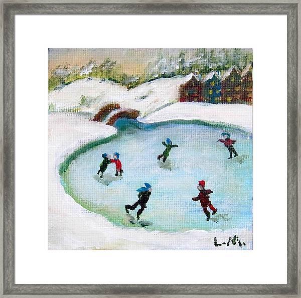 Skating Pond Framed Print