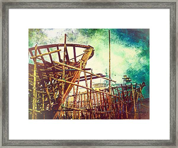Skeletons In The Yard - Boatbuilding In Ecuador Framed Print