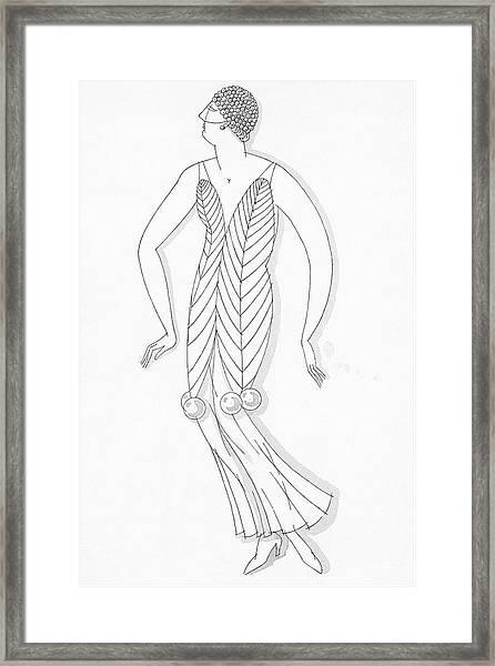 Sketch Of A Woman Wearing White Mistletoe Costume Framed Print by Robert E. Locher