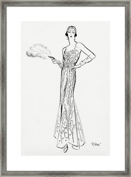 Sketch Of Munoz Wearing Evening Gown Framed Print