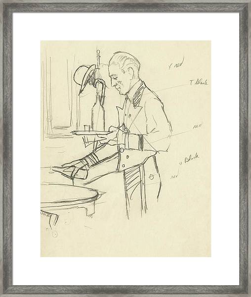 Sketch Of Waiter Pouring Wine Framed Print
