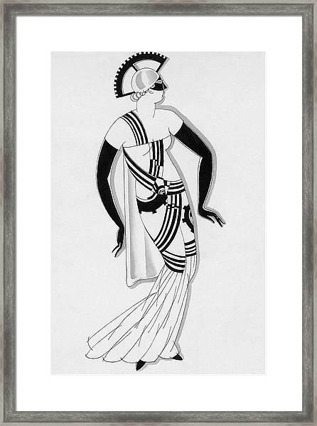 Sketch Of Woman Wearing Hyperprism Costume Framed Print