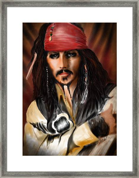 Sketching A Pirate... Framed Print