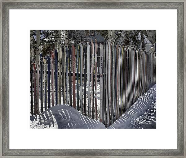 Ski Fence Framed Print