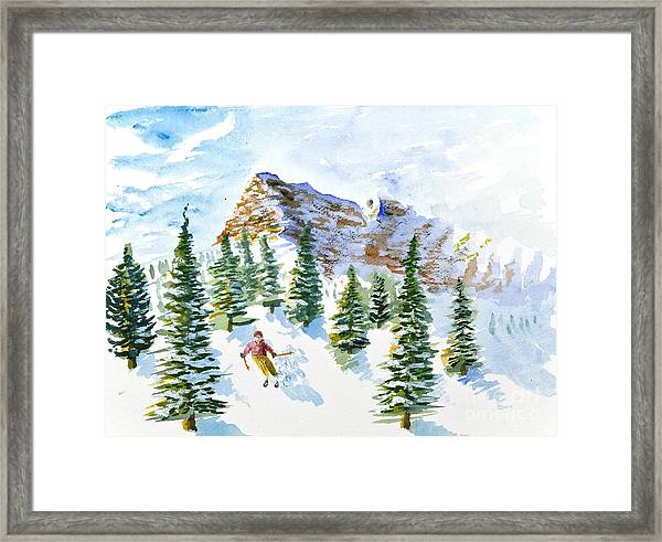 Skier In The Trees Framed Print