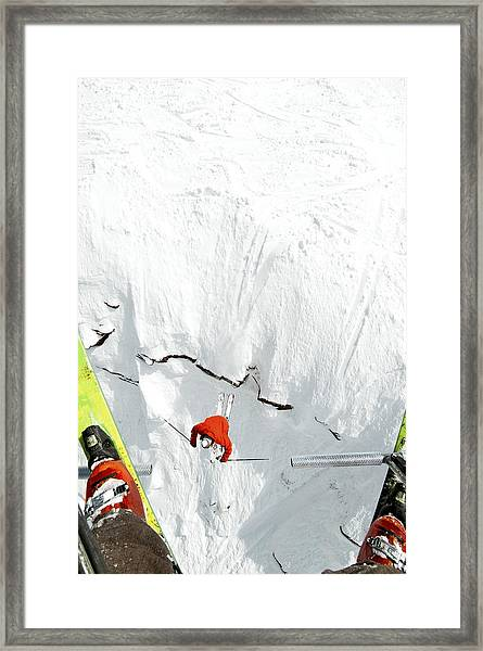 Skier Jumps Off Cliff Under Chairlift Framed Print by Connor Walberg