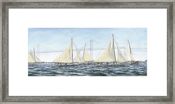 Framed Print featuring the painting Skipjacks Racing Chesapeake Bay Maryland by G Linsenmayer